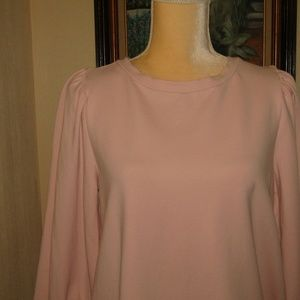 LOFT Tops - LOFT l/s pink knit top puffy sleeves soft size M